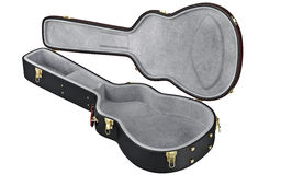 Open black guitar case container. Open guitar case container for protection musical equipment. 3D graphic Royalty Free Stock Photos