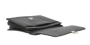 Open black leather briefcase Royalty Free Stock Images