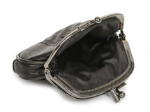 Open black leather purse Royalty Free Stock Images