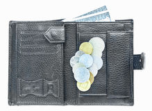 Open black leather wallet Stock Images