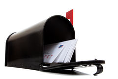 An open black mailbox with letters on white Stock Photography