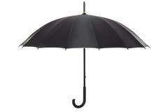 Open black umbrella isolated on white Royalty Free Stock Photos