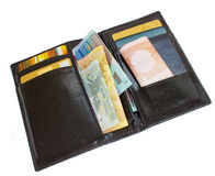 Open black wallet royalty free stock photography