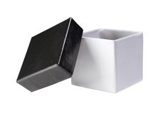 Open black and white gift box Royalty Free Stock Images