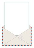 Open blank airmail envelope with rubber stamp Royalty Free Stock Images