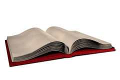 Open Blank Book Illustration. Old blank book, open with pages displayed. Aged parchment pages and thick cover. Isolated 3D illustration on white background royalty free illustration