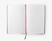 Open blank book with lines, red bookmark Stock Photos