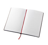 Open blank book with lines, red bookmark Royalty Free Stock Image