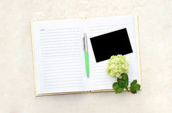 Open Blank  Book with Photo Stock Photo