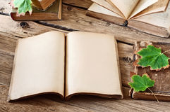 Open blank book on wooden desk with autumn maple leaves Stock Images