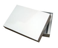 Open blank box w/ path. Blank box isoalated on white with a clipping path (Insert your own design or content Stock Photo