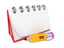 Open Blank Desktop Notebook  with Pencil. Royalty Free Stock Photography