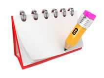 Open Blank Desktop Notebook  with Pencil. Royalty Free Stock Photos