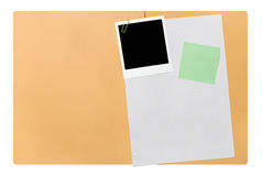 Open blank file folder. With polaroid picture frame Stock Photo