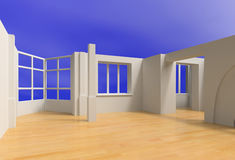 Open blank interior. Over blue sky (3D rendering Royalty Free Stock Photos