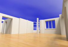 Open blank interior. Over blue sky (3D rendering Stock Photography