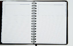 Open blank note book. With white background Royalty Free Stock Photography