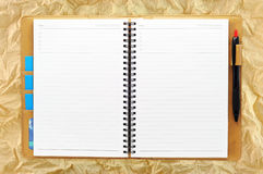 Open blank note book on Grunge paper Stock Image