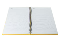 Open blank note book on white Stock Photo