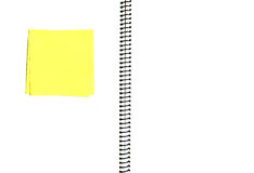 Open blank notebook. With yellow memo note stock image