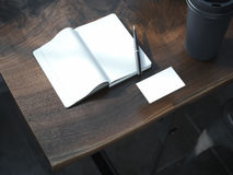 Open blank notebook with black pen. Royalty Free Stock Image
