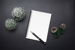 Open blank notebook, pen, pine cones and mini christmas tree in. Black tones. Festive Christmas and New Year concept stock photo
