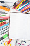 Open blank Notebook and school or office tools on white background And Stock Images