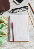Open a blank Notepad, pen, glasses, phone, handbag and scarf Royalty Free Stock Photography