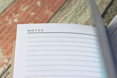 Open blank Notes page of diary, close up. Stock Photos