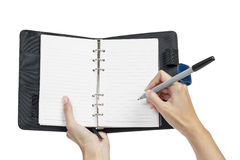 Open blank page note book and hand Royalty Free Stock Images