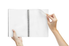 Open blank page note book and hand Stock Images