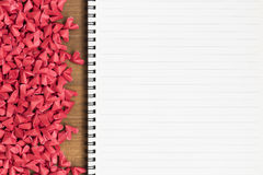 Free Open Blank Page Note Book With Small Red Paper Hearts Stock Photos - 94153233