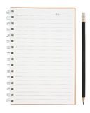 Open blank page notebook and pencil isolated Stock Image