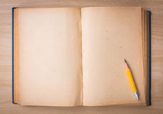 Open blank pages of old book on wood. Background Stock Images