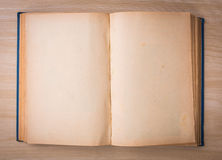 Open blank pages of old book on wood Stock Images