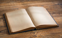 Open blank pages of old book. On wood background stock images