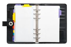 Open blank Personal Organizer Royalty Free Stock Photography