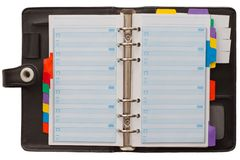 Open blank Personal Organizer Stock Photography
