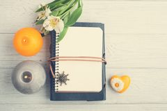 Open blank planner, top view with lit candles Royalty Free Stock Photography