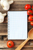 Open blank recipe book on the brown wooden background Royalty Free Stock Photo