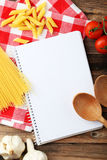 Open blank recipe book, close up Stock Photo