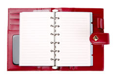 Open blank red leather planner Royalty Free Stock Images