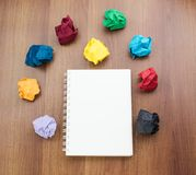 Open blank ring binder white book and pencil with group of color Stock Photography