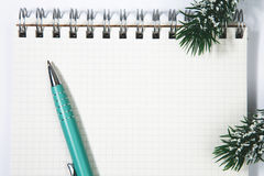 Open blank spiral notepad with metal pen christmas concept Fir t. Open blank spiral notepad with metal pen, christmas concept Fir tree branch Stock Photos