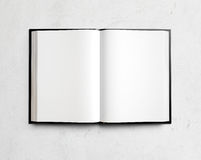 Open blank textbook on white stucco wall Stock Image