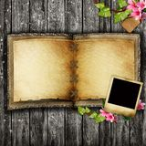 Open blank vintage book. On wooden table Stock Photo