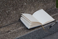 Open a blank white notebook, pen Royalty Free Stock Photos