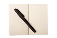 Open Blocnote en de Pen Stock Afbeeldingen