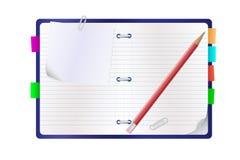 Open blocnote en een potlood Stock Foto's