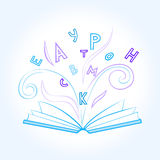 open blue book with flying colored letters on white blue background. vector illustration